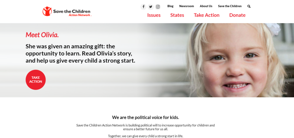 Save the Children Action Network website